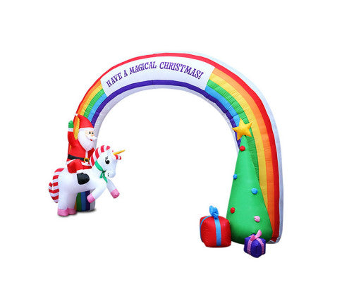 Outdoor Inflatable Christmas Rainbow Archway - Santa on Unicorn H:2.15m x W:3m
