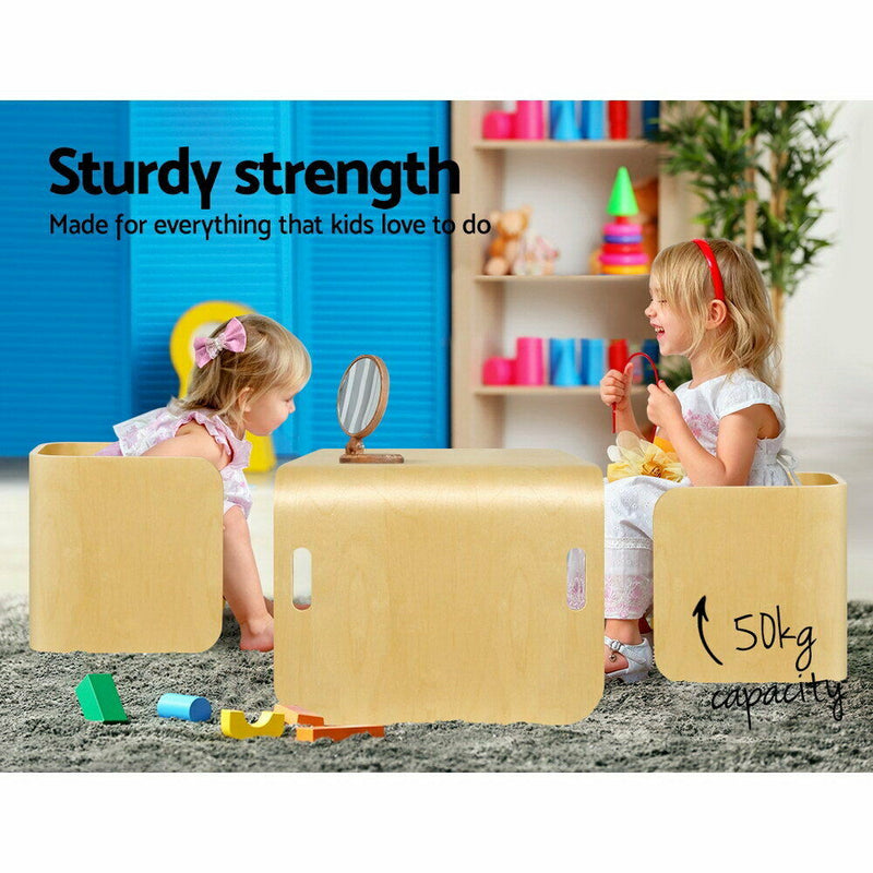 Keezi Kids Table and Chairs Set Toys Play Desk Children Shelf Storage 3PC Beige