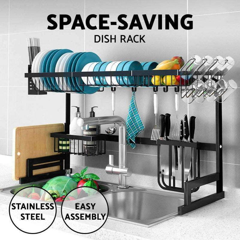 95cm Dish Drying Rack Organizer 2Tier Kitchen Draining Over Sink Stainless Steel