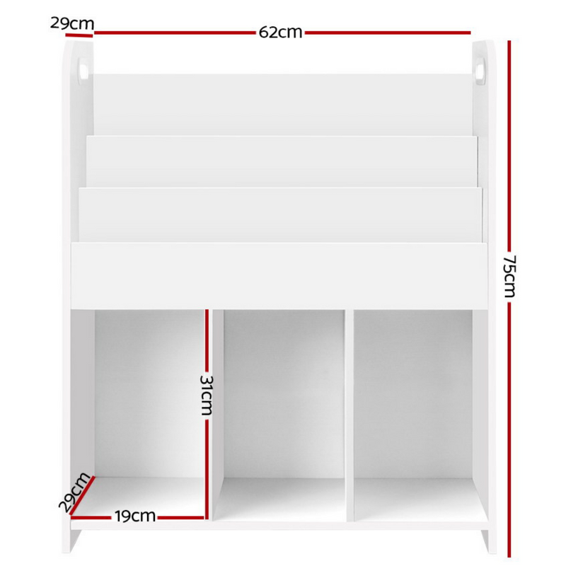 Children's Bookshelf Kids 3 Tier Book Display Cabinet Storage Compartments White