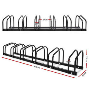 1 – 6 Bike Floor Parking Rack Instant Storage Stand Bicycle Cycling Portable Blk