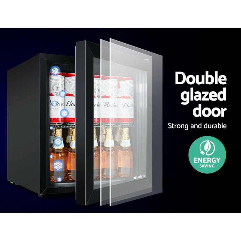 46L Glass Door Bar Fridge Mini Countertop Freezer Fridges Bottle Cooler