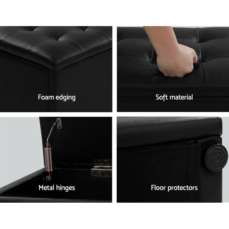 Storage Ottoman Blanket Box Black LARGE Leather Rest Chest Toy Foot Stool