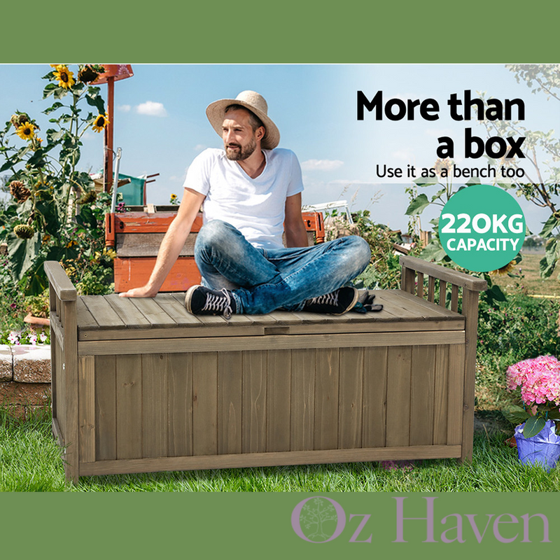 Outdoor Wood Storage Box & Garden Furniture Bench Chest for Toys Tools & Shed