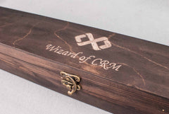 Wizard of CRM personalised work leaving gift with a difference ! Real wood wand and carved case