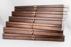 Wooden Wand display cases, Waxed