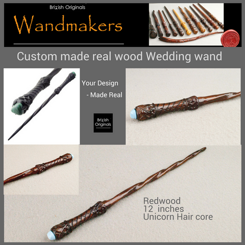 Wedding gift, custom wedding present, Harry potter real wood wands pair same magic core