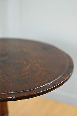 SOLID OAK ROUND OCCASIONAL TRIPOD TABLE, FRENCH POLISHED, ANTIQUE c140YRS OLD