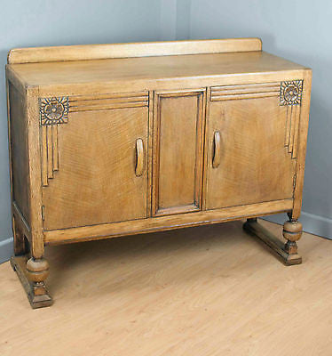 Vintage oak sideboard or cupboard w. Antique carved details & clean lines