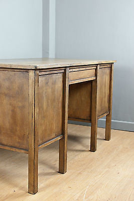 SOLID BEECH LARGE PARTNER DESK w.6 DRAWERS, SHELVES & a WAXED VINTAGE FINISH