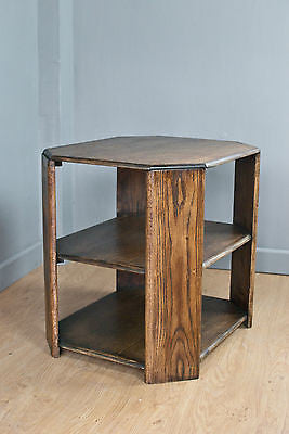 ART DECO STYLE OAK SIDE TABLE, OCCASIONAL TABLE, OCTAGONAL, WAXED  c70YRS OLD