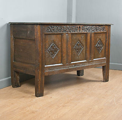 ENGLISH SOLID OAK COFFER, SMALL SIZE, BLANKET CHEST, HOPE CHEST, c300 YEARS OLD