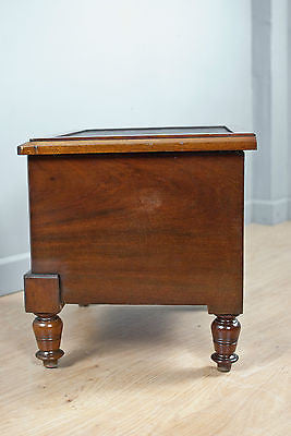 SOLID MAHOGANY STORAGE BOX / STOOL / CUPBOARD w.LEATHER TOP, ANTIQUE c150YRS OLD