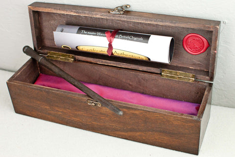 Solid wood wand gift or display box, french polished | Single or double | Rosewood | Dark logo