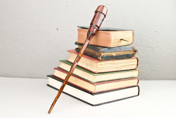 12 & 1/2 Inch Mahogany, Carved shaft, Wooden Wand  | Unique design, made by hand |