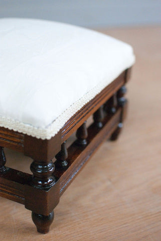Cream Upholstered Footstool, French polished Mahogany.  Antique - Restored.