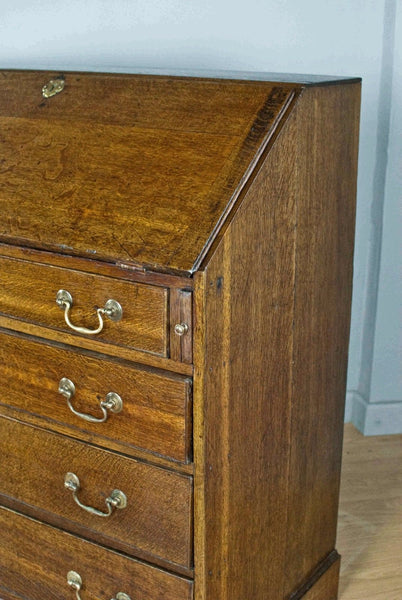 SOLID OAK FALL FRONT BUREAUX / DESK, FRENCH POLISHED GEORGIAN c200YRS OLD