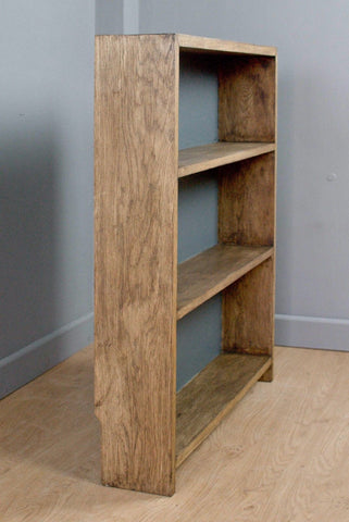 SOLID OAK SHELVES / BOOKCASE, WAXED, PAINTED BACKBOARD (F&B DOWNPIPE)