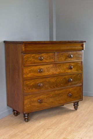 Antique Flame Mahogany Chest of Drawers,  The wonder of polished wood