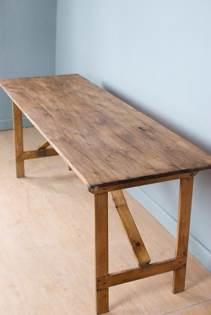 Delicieux Vintage Pine Trestle Table, Folding Table, Show Stand.