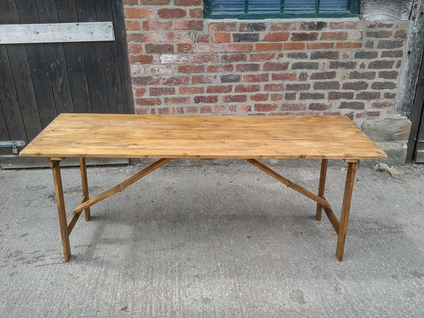 Vintage Pine Trestle Table, Folding Table, Show stand.