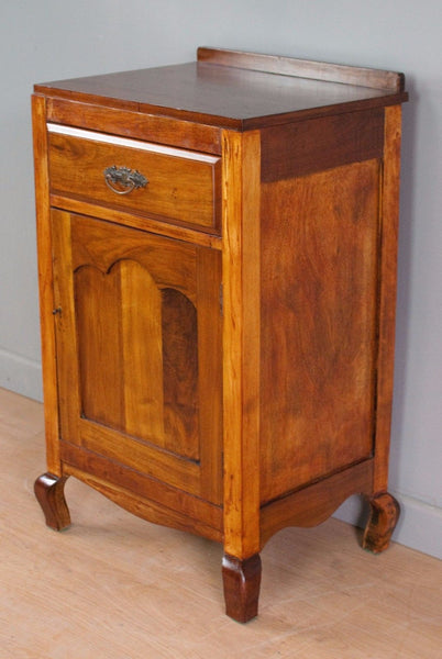 Walnut single freestanding cupboard or bedside table, French polished cabinet