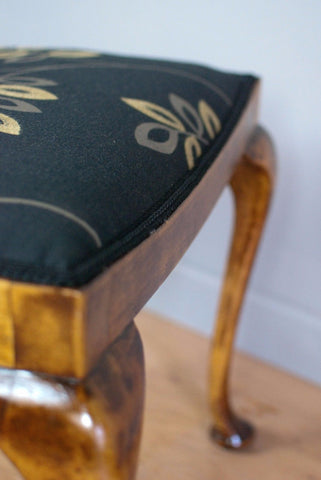 Vintage Upholstered stool, bow top c 80 years old, Antique Piano Stool.