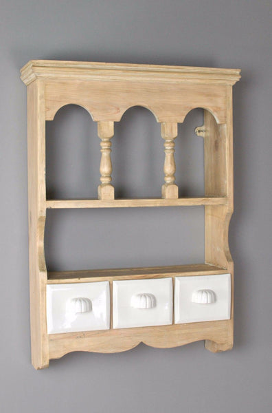 Vintage pine wall shelf with easy clean white ceramic drawers for kitchen spices