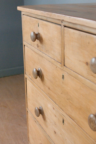 Antique pine large Chest of Drawers, Wax finish, c150 years old - restored