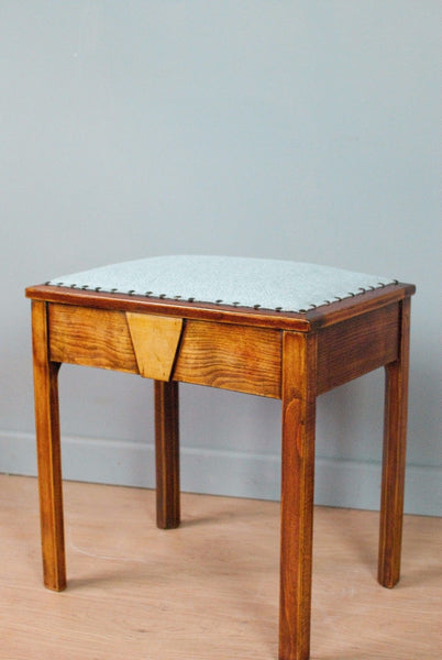 Vintage Upholstered piano stool, French polished.  Antique - Restored.