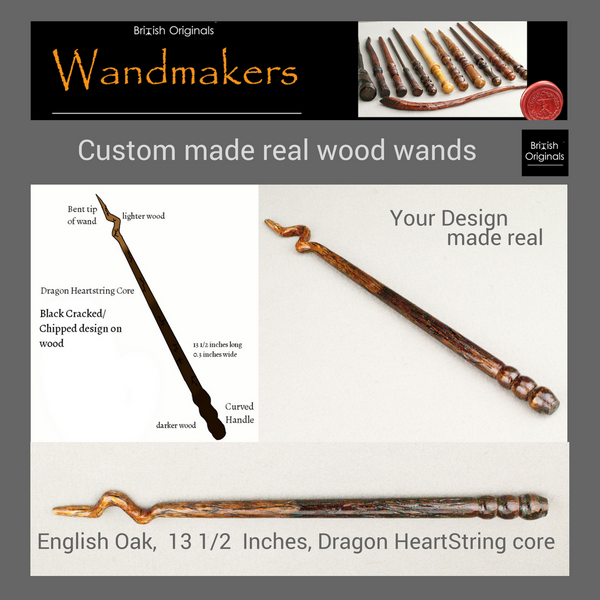 A custom order wand, handmade in England, designed & personalised for you.