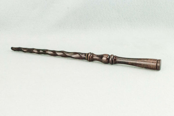 GRAPE BROWN BEECH | 11 1/2 INCH SPIRAL SHAFT REAL WOOD WAND | HANDMADE