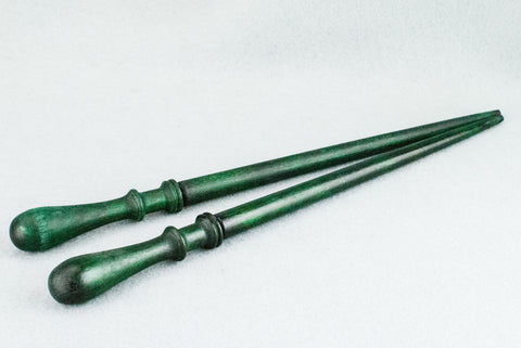 11 3/4 INCH | FOREST GREEN TONE | SOLID BEECH REAL WOOD WAND