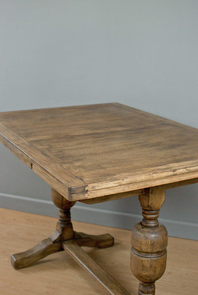 Vintage oak draw leaf table. Trestle style. Wax finished c70 years old