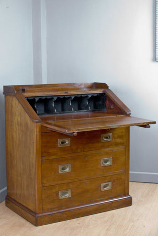 VICTORIAN WALNUT DESK / BUREAU ON A PLINTH BASE w. MILITARY BRASS HANDLES