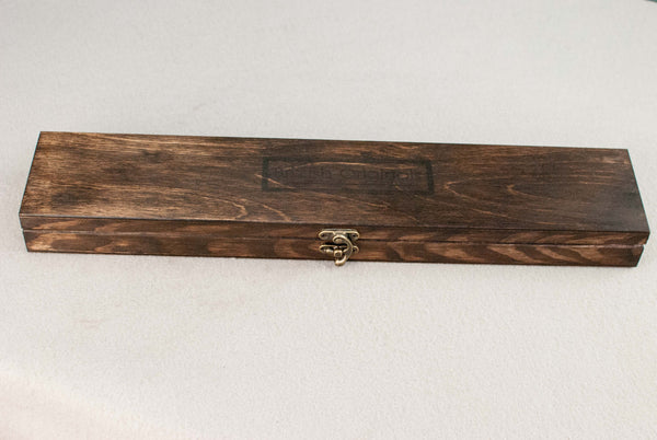 Wooden Wand Display Case  | Antique wood Tone - Wax finish | External Logo |