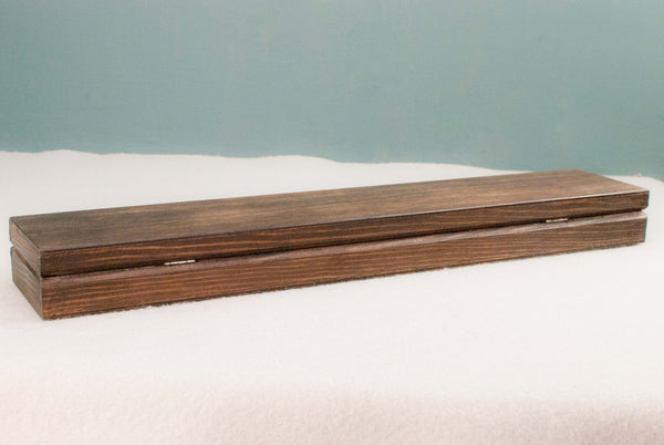 Wooden Wand Display Case  | Antique wood - Wax finish | Internal logo |