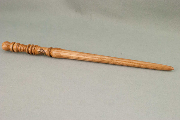Ash 12 3/4 Inches, Lacquer finish | Rose Carving Custom order wand
