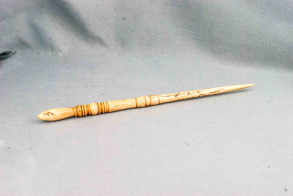 Willow 14 Inch, Lightning carved, French Polished |  Custom order wand