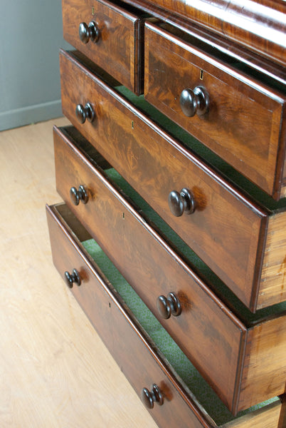 Large Antique Flame Mahogany Chest of Drawers, pillar scrolls & gorgeous mouldings