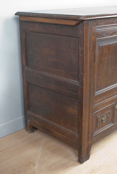 English oak Coffer / Blanket Chest, Early 1700's with base and internal secret drawers