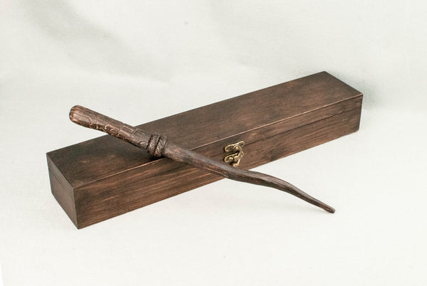 Wooden Wand Display Case | Rosewood tone - Wax finish | Lined wand rest and Wax seal