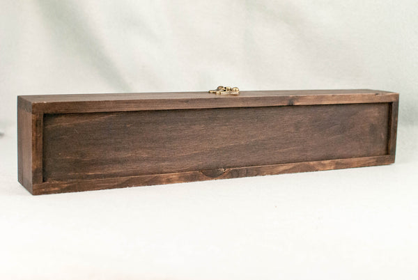 WOODEN WAND CASE, WAXED, ROSEWOOD TONE, BURGUNDY INNER