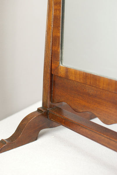 Mahogany swing table mirror or dressing mirror w. Brass holds, c100 years old