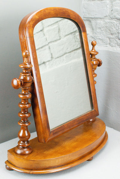 Victorian Pine swing dressing table mirror on turned columns c150 years old