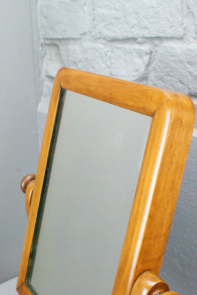 Cypress swing table mirror or dressing mirror w. secret drawer, Victorian c150 years old