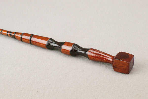 13 & 1/8th Inch Mahogany tiger Wooden Wand  | Unique design, made by hand |
