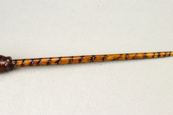 13 & 1/2 Inch  Mahogany, Tiger Wooden Wand  | Unique design, made by hand |