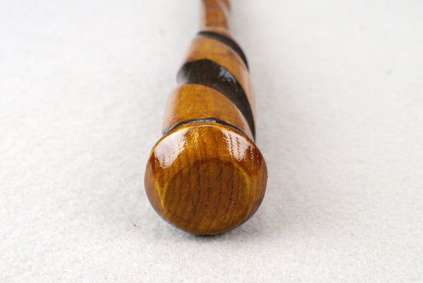 12 & 15/16ths Inch Oak, twist handle Wooden Wand, Carved shaft  | Unique design, made by hand |
