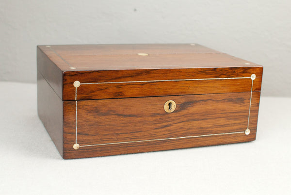 Antique Walnut Wand display & presentation box with Mother of pearl & brass inserts